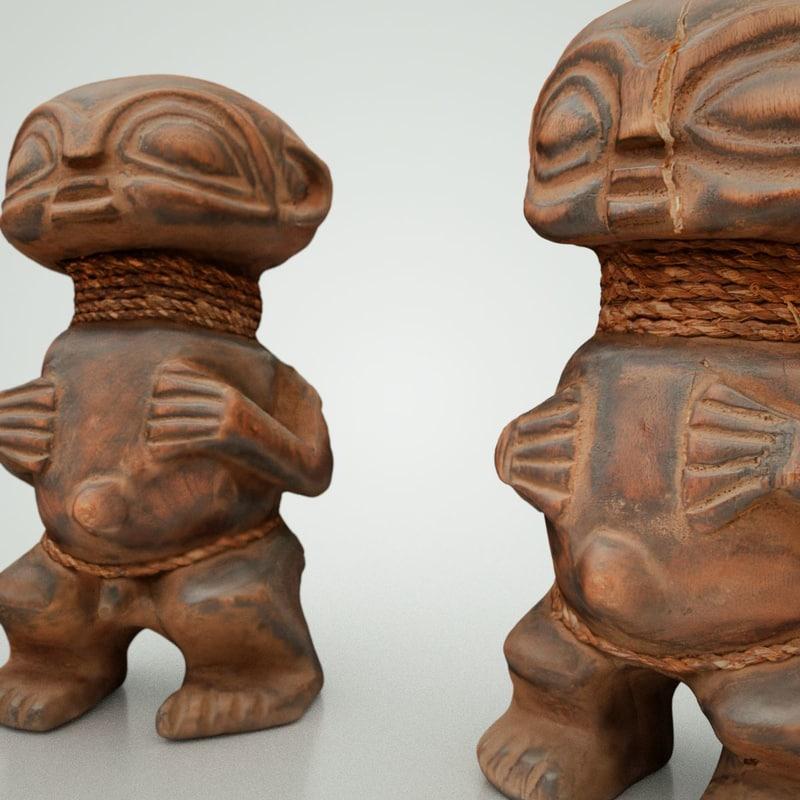 3d model male female african statues