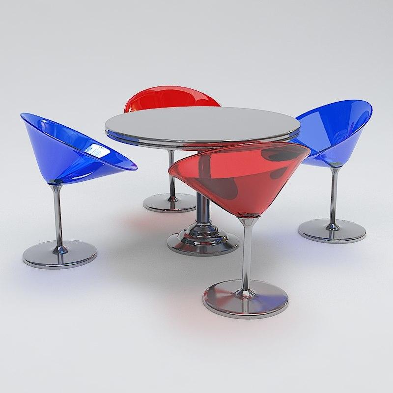 3d modern table chair set