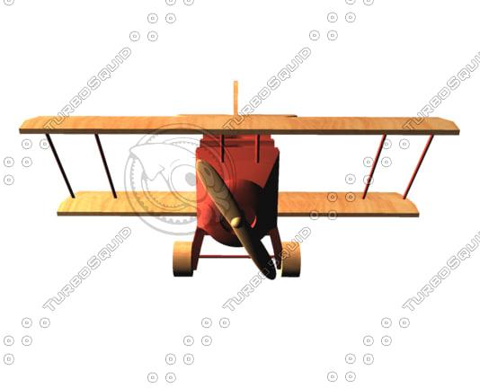 wooden toy biplane obj