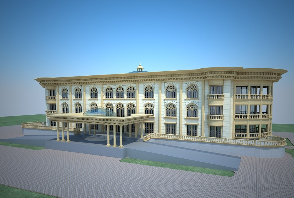 3d european classical building villa model