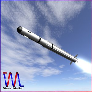 3d model of a-darter air-to-air missile launch
