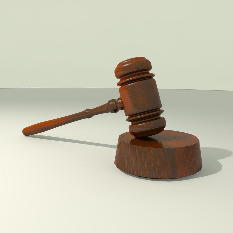 court gavel hammer 3d model