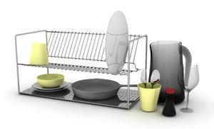 3d kitchen dishes rack model