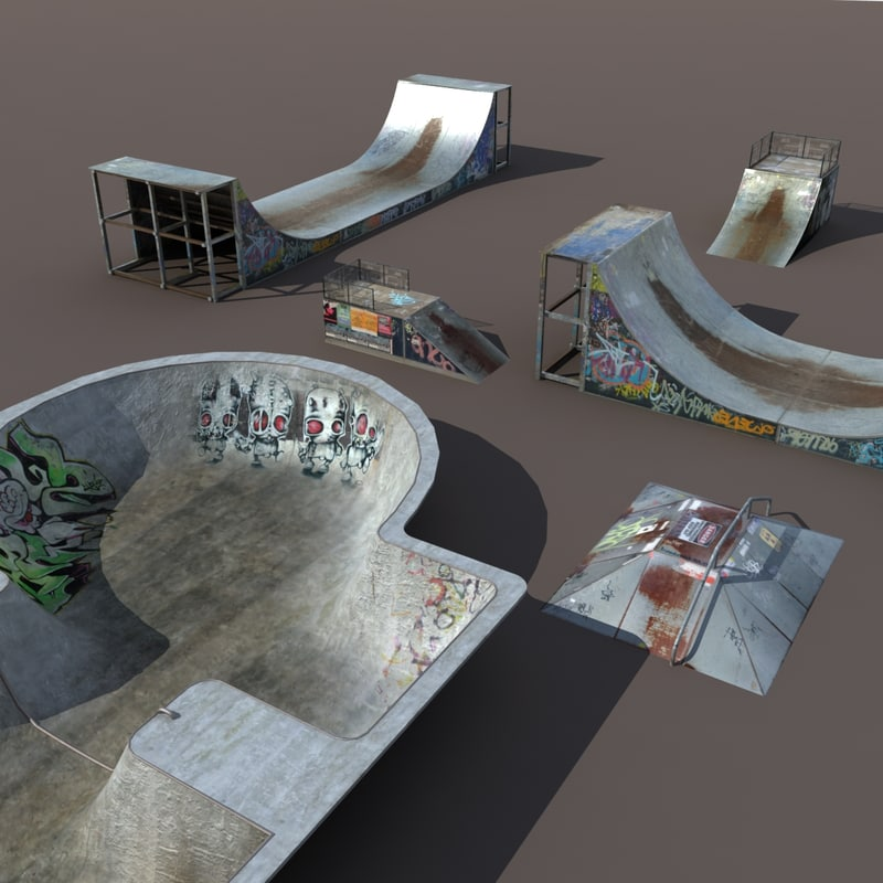 3d skate pipe model