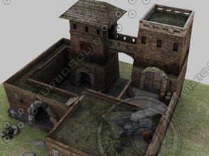 medieval fort 3d model