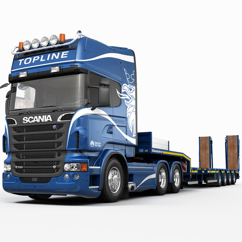 scania r730 platform trailer 3d max