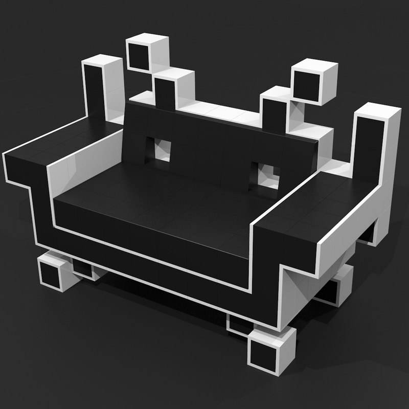 3d model of couch space invaders