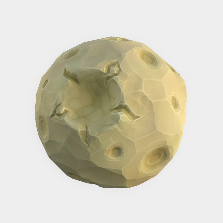 low-poly moon 3d model