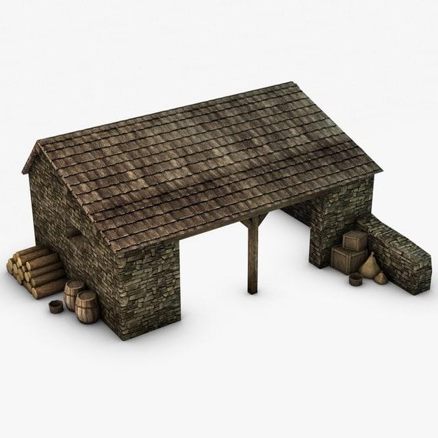 3d model farm stable props