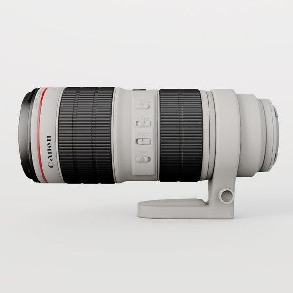 canon telephoto lens 70-200 3d model