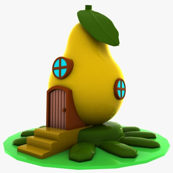 cartoon pear house 3d model