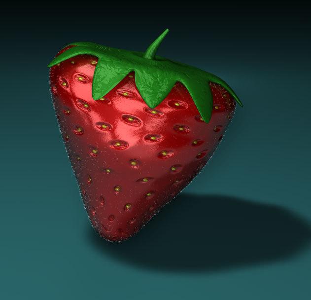3d c4d realistic strawberry