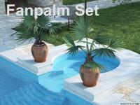 3dsmax fanpalm set palmtree