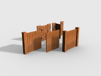 Low Poly Wooden Fence Set