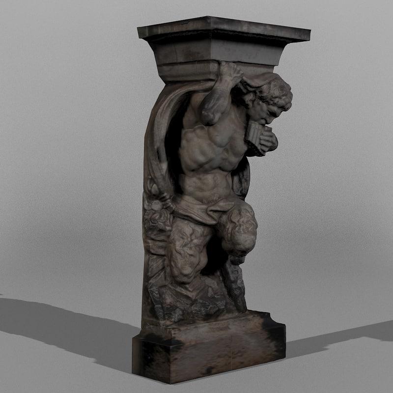 3d model statue dresden pan