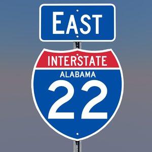 interstate 22 signs alabama 3d c4d