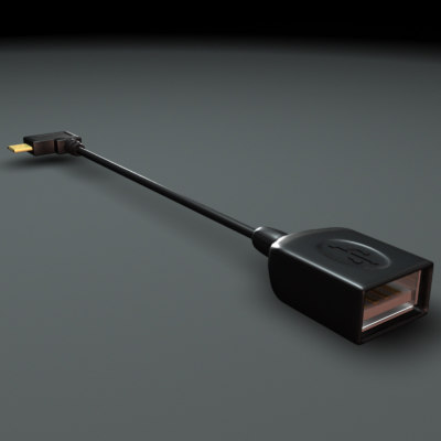 3d model micro usb otg cable