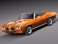 muscle car antique convertible 3d model