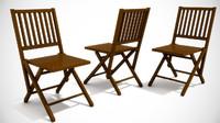 antique folding wooden chair 3ds