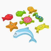 3d sea creature magnet toy