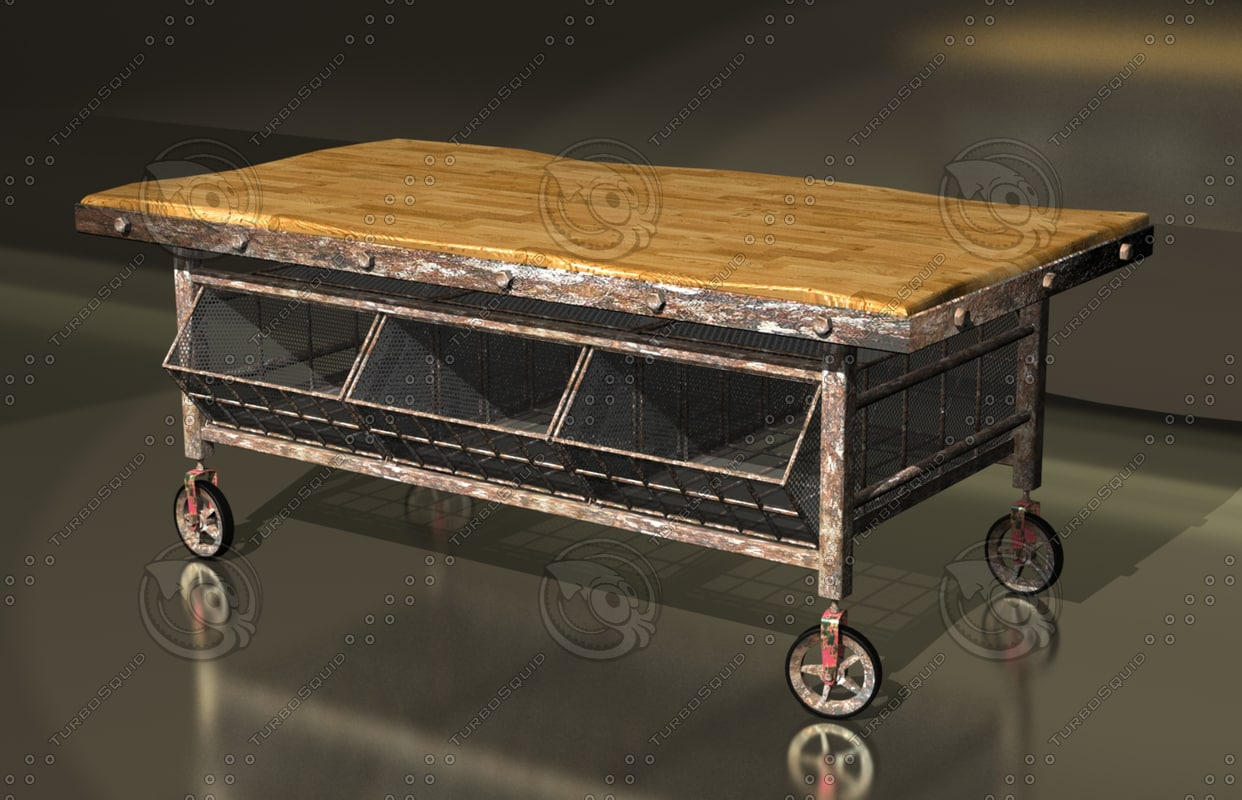 vintage factory trolley coffee table max free
