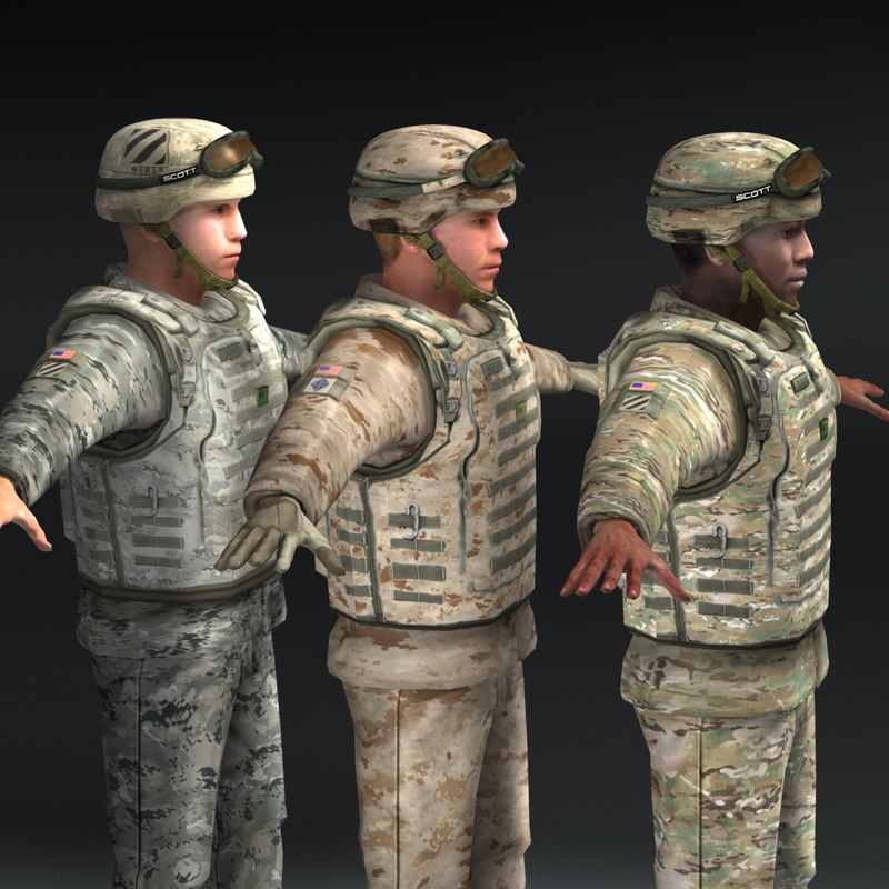 soldiers army marine 3d obj