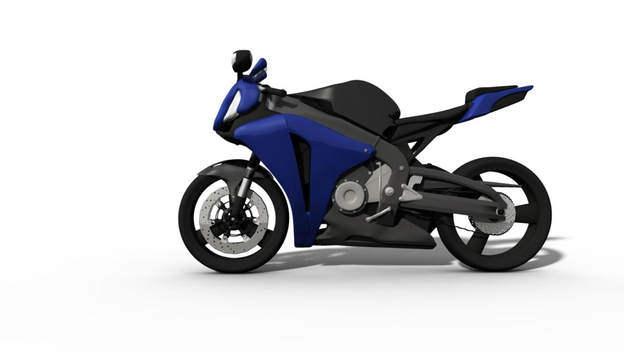 blue cbr1000rr motorbike obj