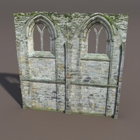 Castle Ruin -Wall Low Poly 3d Model