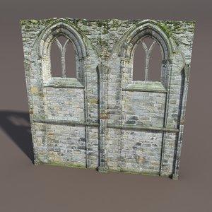castle ruin wall 3d model