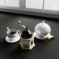 3d model kitchen decorations coffe