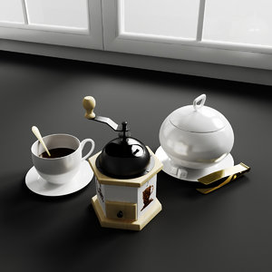 3d model kitchen decorations coffe