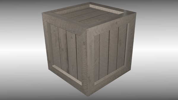 free wooden box 3d model