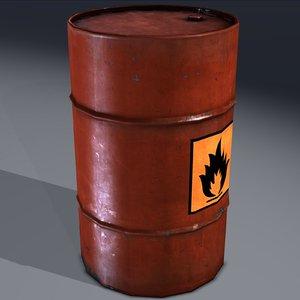 3d industrial barrel flammable explosive
