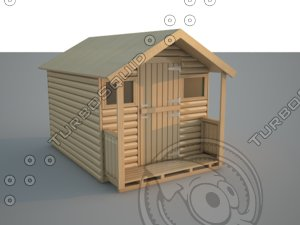 3d house shed wooden model