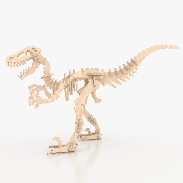 free wooden puzzle dinosaur - 3d model