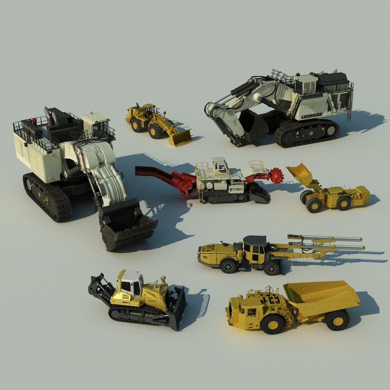 mining machines roadheader 3d max