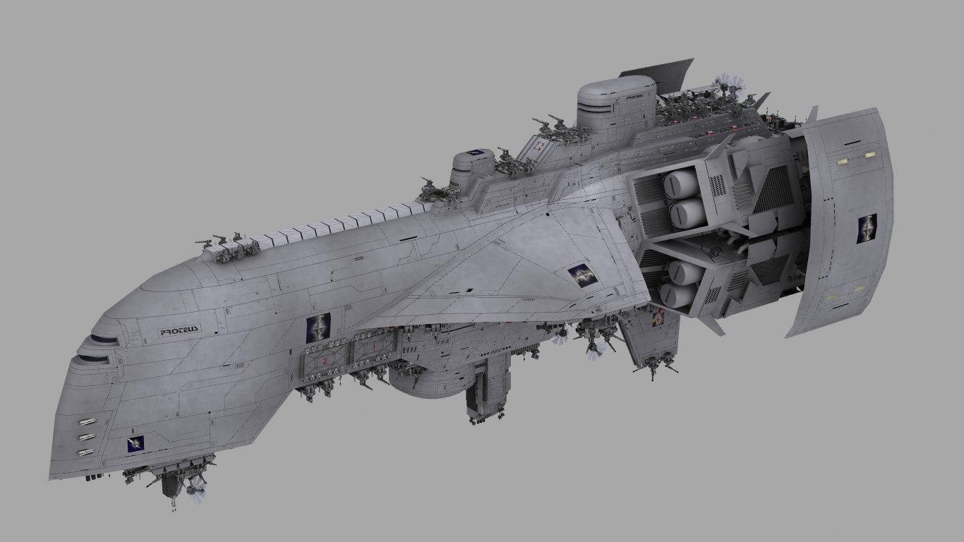3d model proteus warship cruiser