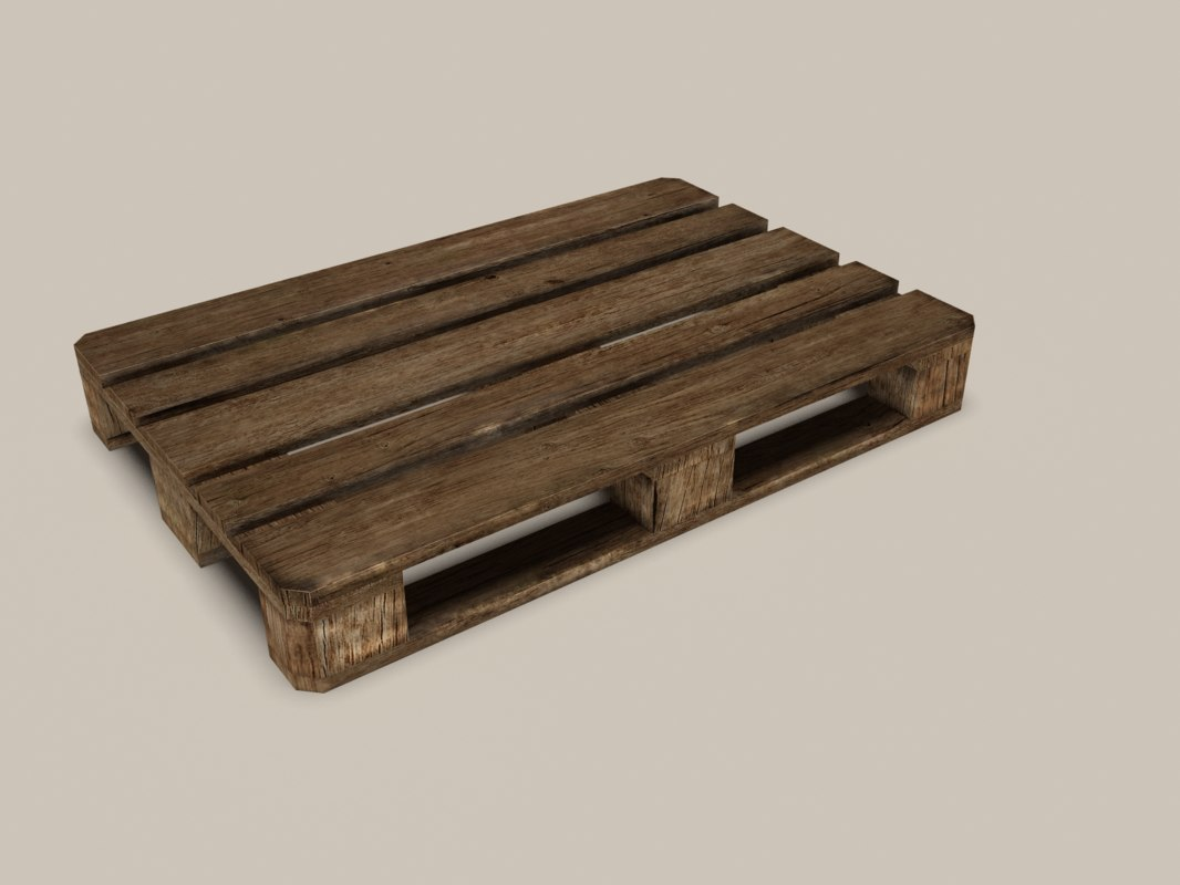 aged wooden euro pallet 3d 3ds