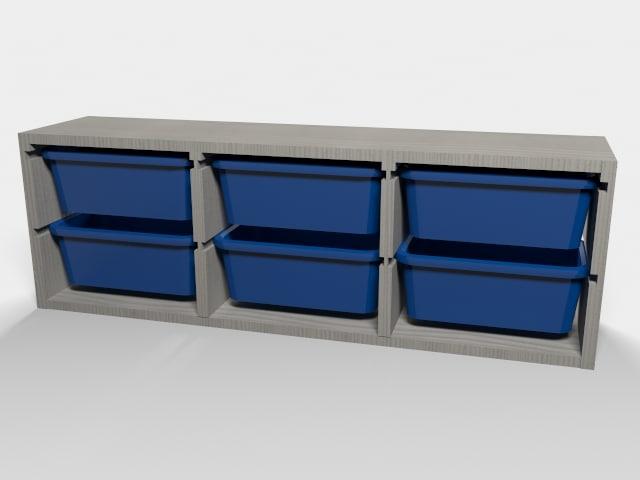 ikea shelf storage boxes 3d obj