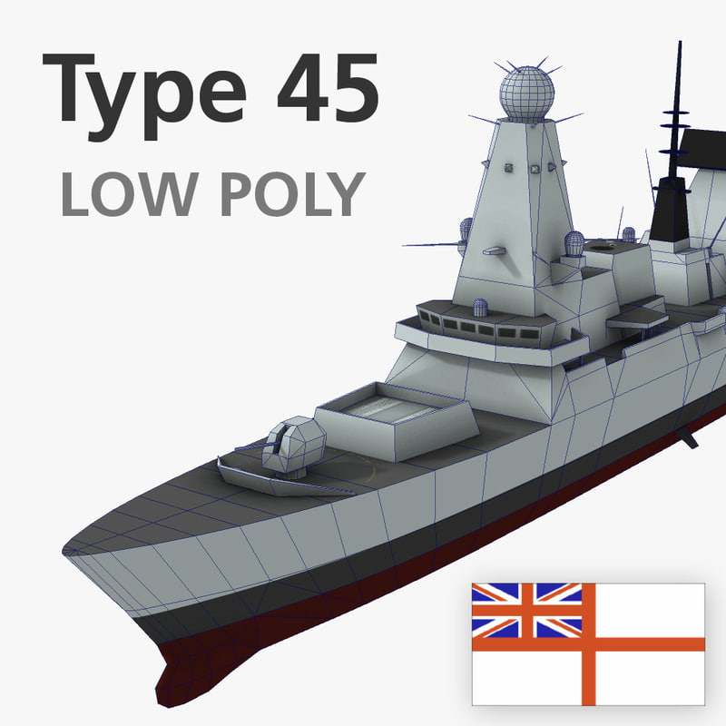 3d type 45 destroyer low-polygon