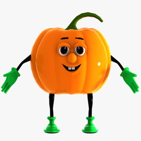 pumpkin character 3d model