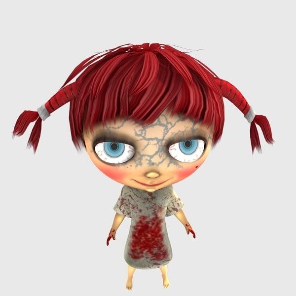 3d girl character poser figure