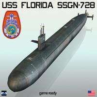3d uss florida ssgn-728 model