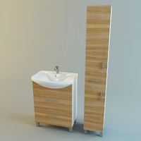 3d model of set bathroom furniture vanity