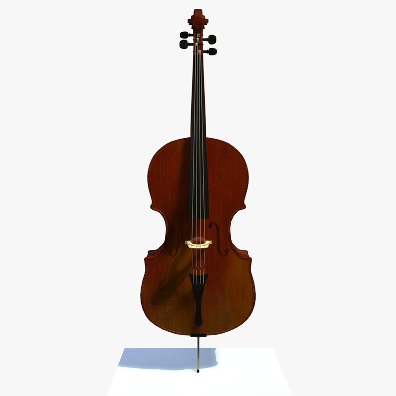 3d glossy cello musical instrument