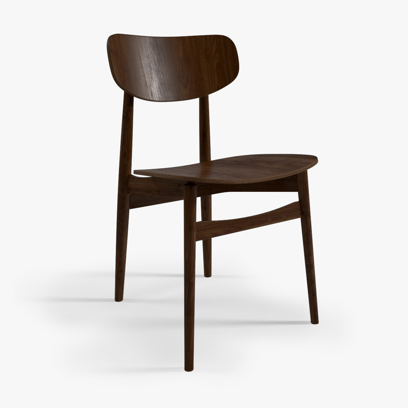 mid-century danish dining chair 3d model
