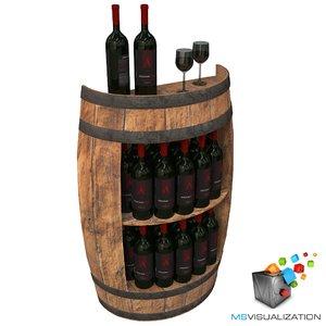 3d half barrel wine rack