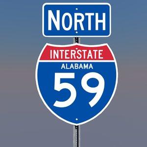 interstate 59 signs alabama 3d c4d