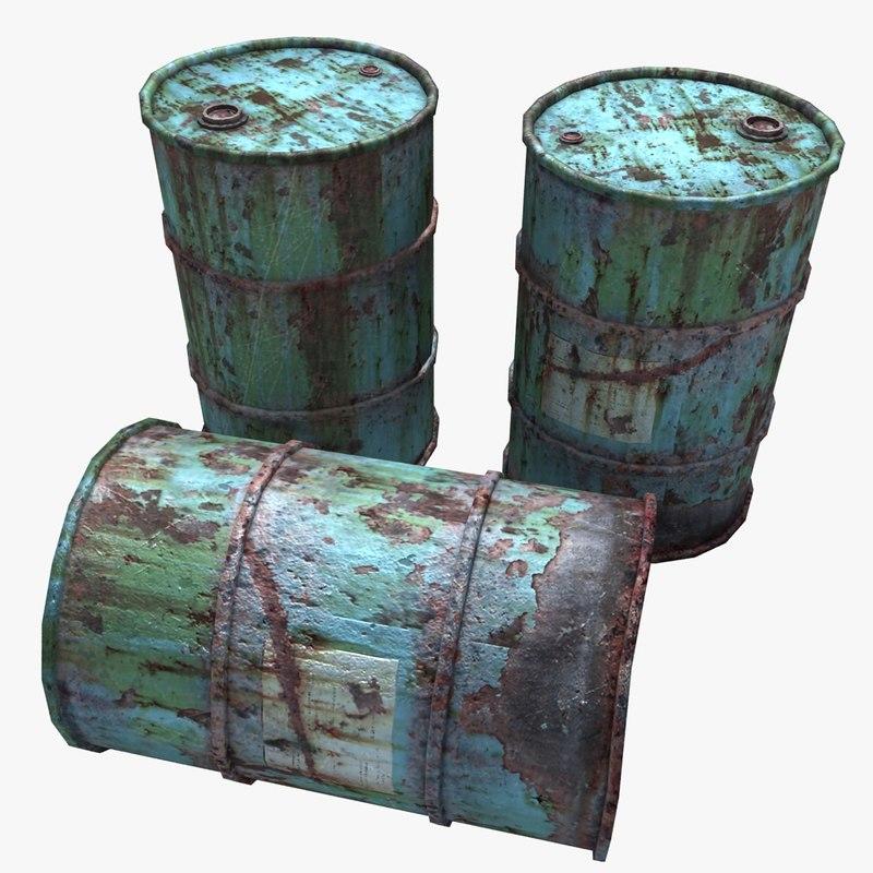rusty oil barrels 3d max