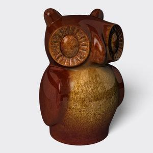 decorative ceramic owl statuette 3d 3ds